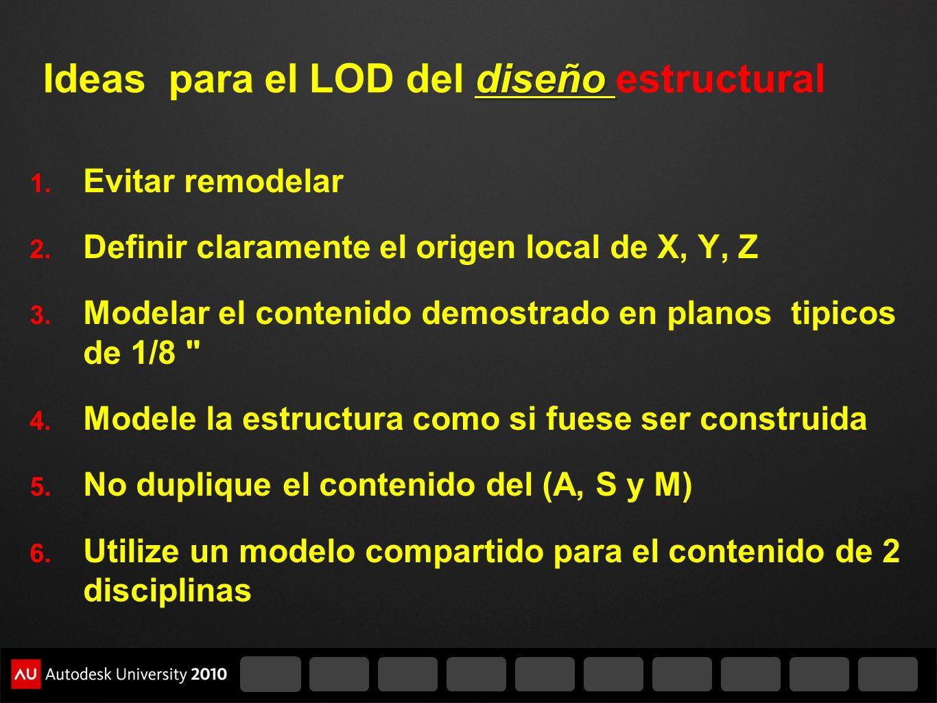 diseño Ideas para el LOD del diseño estructural 1. Evitar remodelar 2. Definir claramente el origen local de X, Y, Z 3. Modelar el contenido demostrad