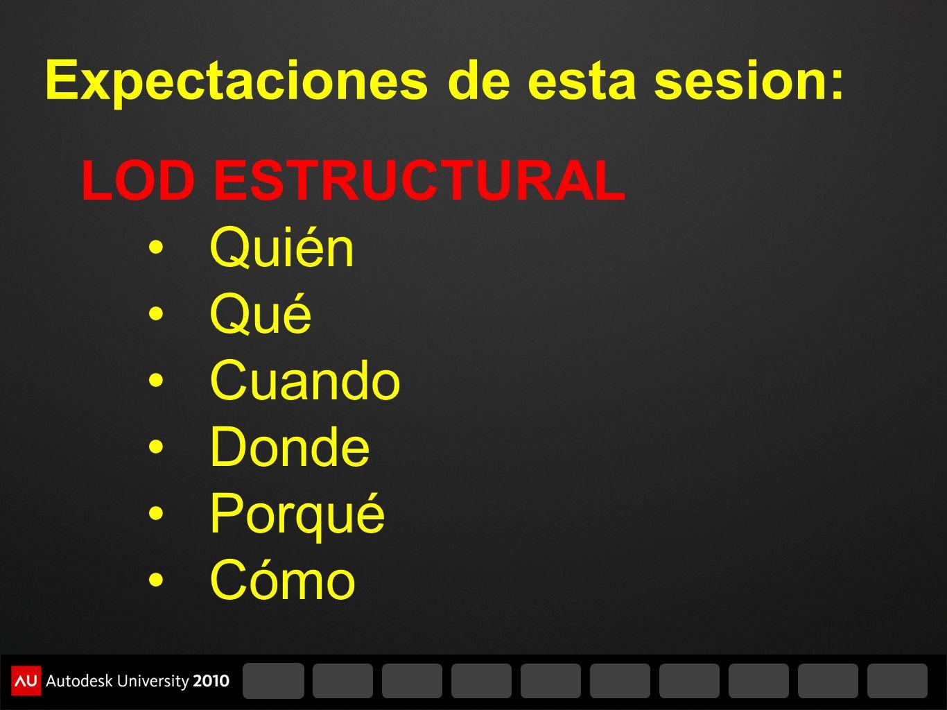 Expectaciones de esta sesion: LOD ESTRUCTURAL Quién Qué Cuando Donde Porqué Cómo