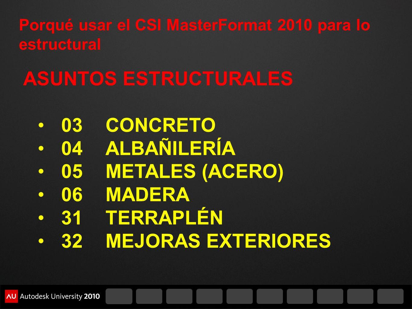 Porqué usar el CSI MasterFormat 2010 para lo estructural ASUNTOS ESTRUCTURALES 03CONCRETO 04ALBAÑILERÍA 05 METALES (ACERO) 06MADERA 31TERRAPLÉN 32MEJO