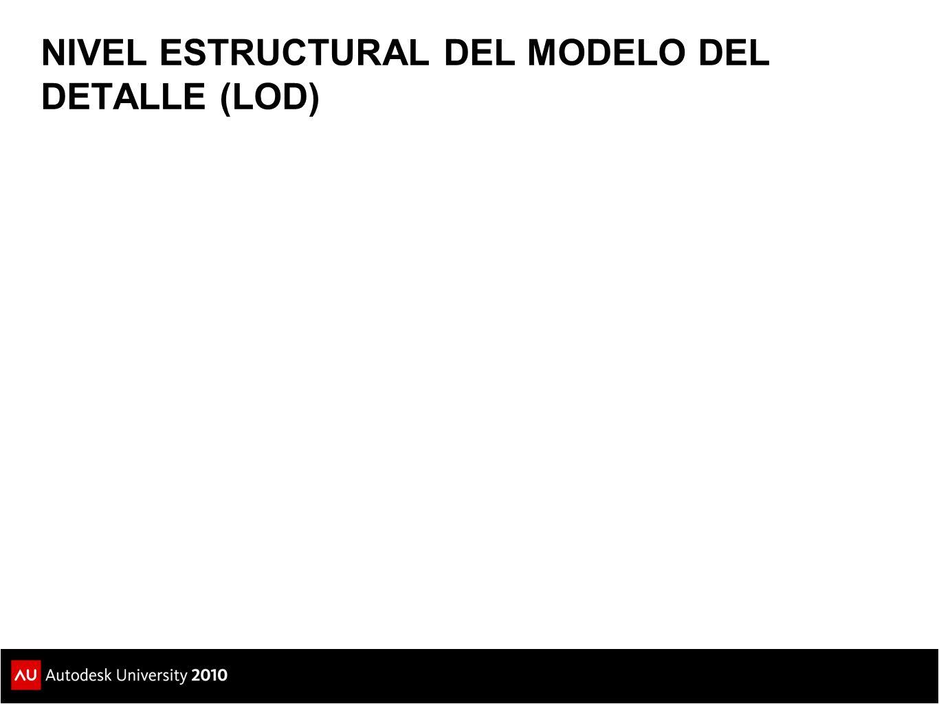 100 200300350400500 NIVEL ESTRUCTURAL DEL MODELO DEL DETALLE (LOD)