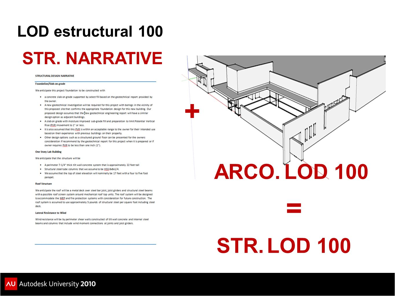 LOD estructural 100 STR. NARRATIVE ARCO. LOD 100 + = STR. LOD 100