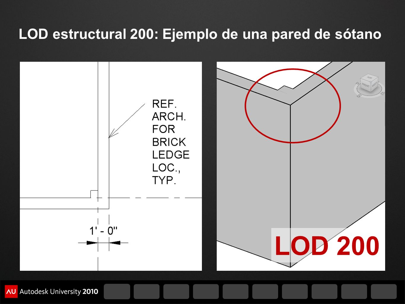 LOD 200 LOD estructural 200: Ejemplo de una pared de sótano