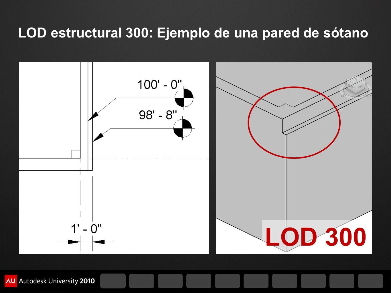 LOD estructural 300: Ejemplo de una pared de sótano LOD 300