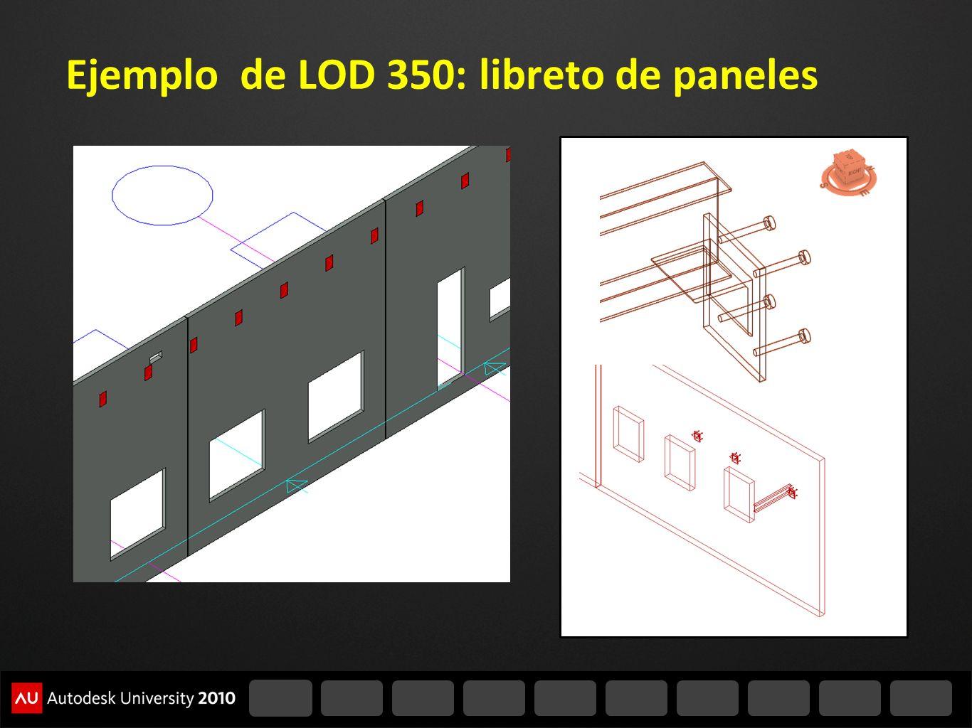 Ejemplo de LOD 350: libreto de paneles