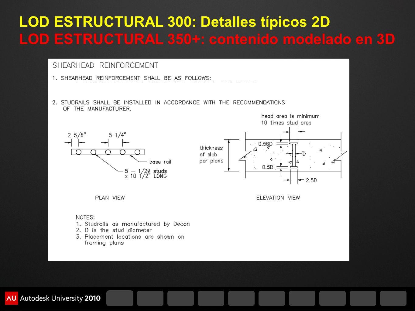 LOD ESTRUCTURAL 300: Detalles típicos 2D LOD ESTRUCTURAL 350+: contenido modelado en 3D