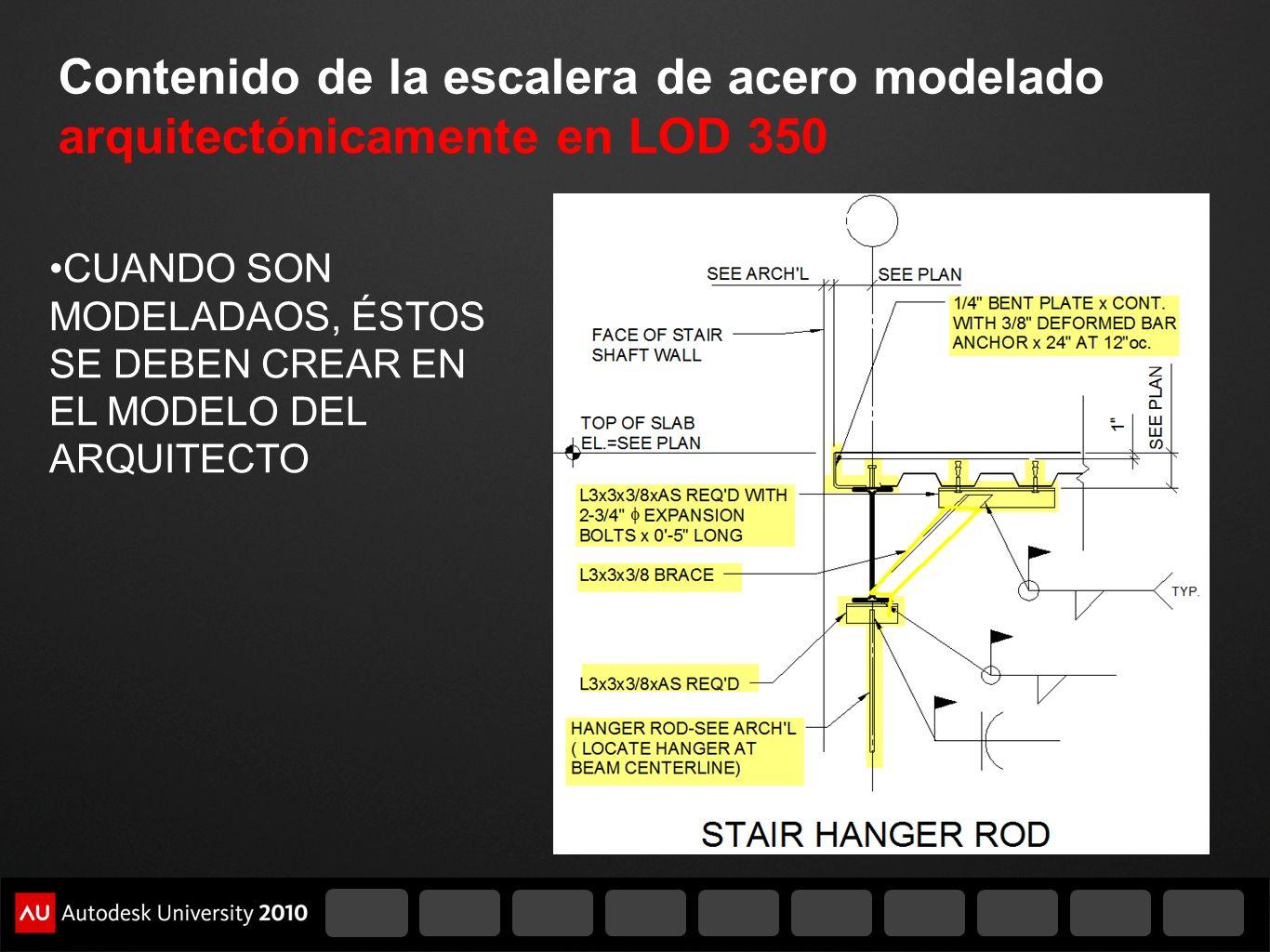 Contenido de la escalera de acero modelado arquitectónicamente en LOD 350 CUANDO SON MODELADAOS, ÉSTOS SE DEBEN CREAR EN EL MODELO DEL ARQUITECTO