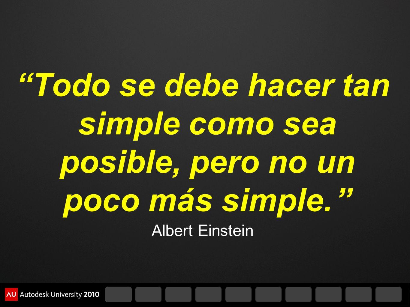Todo se debe hacer tan simple como sea posible, pero no un poco más simple. Albert Einstein