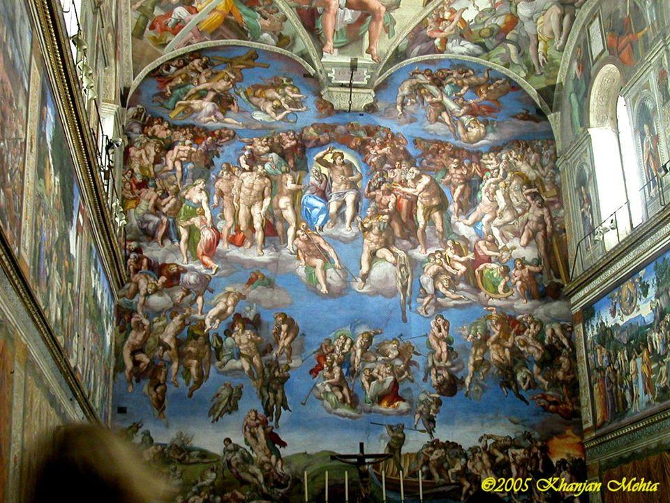 Las pinturas de su interior fueron realizadas por un equipo de pintores formado originariamente por Pietro Perugino, Sandro Botticelli, Domenico Ghirlandaio, Cosimo Rosselli, coadyuvados por sus respectivos talleres y por algunos de sus colaboradores El 15 de agosto de 1483 Sixto IV consagró la nueva capilla a la Asunción de la Virgen, pero decidió modificar parcialmente la decoración de ésta, confiando el encargo a Miguel Ángel en 1508, quien pintó la bóveda y los lunetos, en la parte alta de las paredes.