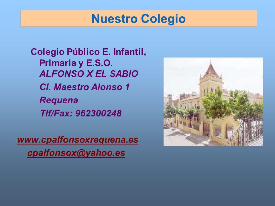 Nuestro Colegio Colegio Público E. Infantil, Primaria y E.S.O. ALFONSO X EL SABIO Cl. Maestro Alonso 1 Requena Tlf/Fax: 962300248 www.cpalfonsoxrequen