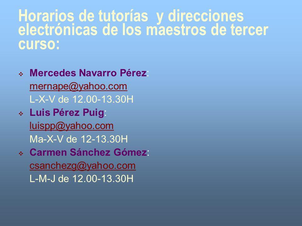 Horarios de tutorías y direcciones electrónicas de los maestros de tercer curso: Mercedes Navarro Pérez: mernape@yahoo.com L-X-V de 12.00-13.30H Luis