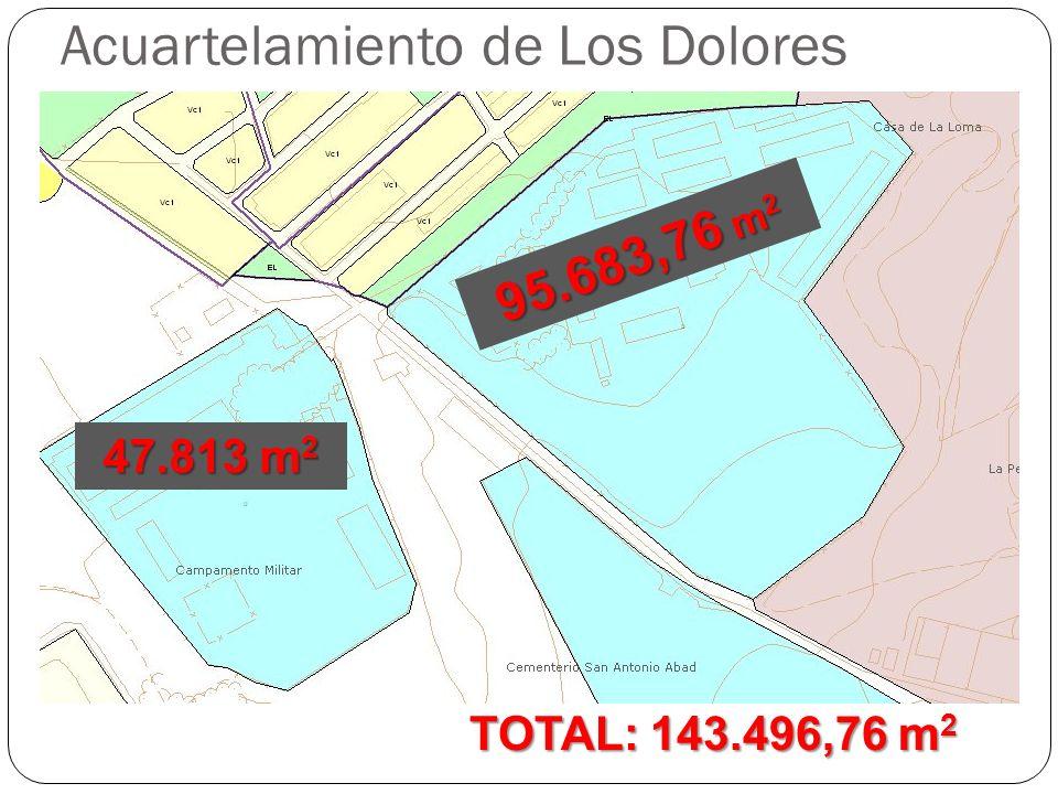 Acuartelamiento de Los Dolores Cartagena REGISTRO DE LA PROPIEDAD DE CARTAGENA Nº 1 FINCA DE CARTAGENA-3ª SECCION Nº: 82291 DATOS DE LA FINCA URBANA.- TOTAL: 143.496,76 m 2 95.683,76 m 2 47.813 m 2