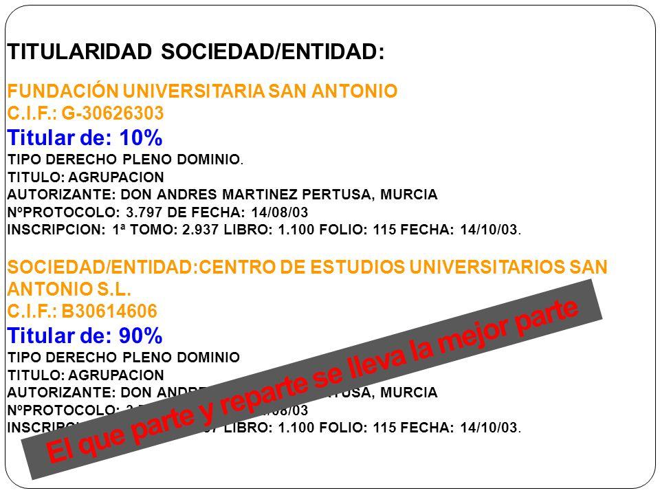TITULARIDAD SOCIEDAD/ENTIDAD: FUNDACIÓN UNIVERSITARIA SAN ANTONIO C.I.F.: G-30626303 Titular de: 10% TIPO DERECHO PLENO DOMINIO. TITULO: AGRUPACION AU