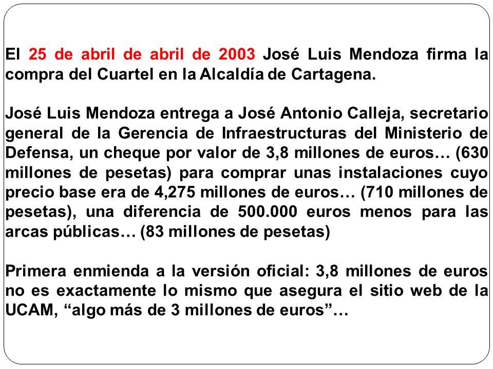 El 25 de abril de abril de 2003 José Luis Mendoza firma la compra del Cuartel en la Alcaldía de Cartagena. José Luis Mendoza entrega a José Antonio Ca
