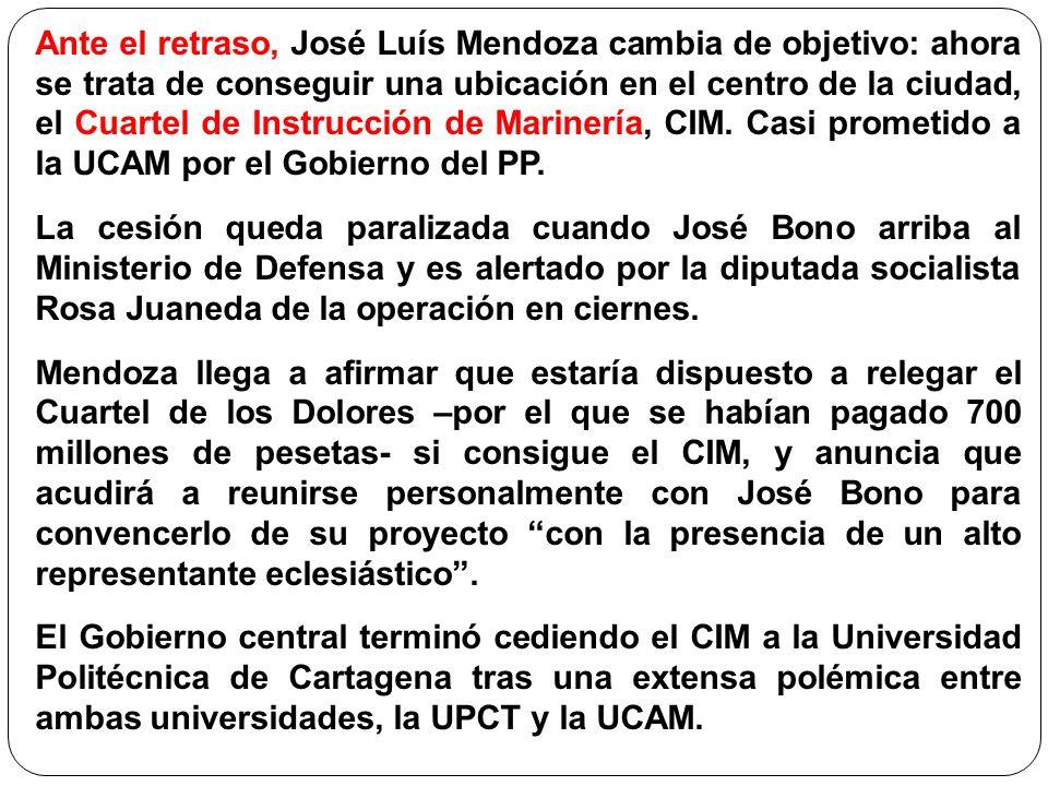 Ante el retraso, José Luís Mendoza cambia de objetivo: ahora se trata de conseguir una ubicación en el centro de la ciudad, el Cuartel de Instrucción