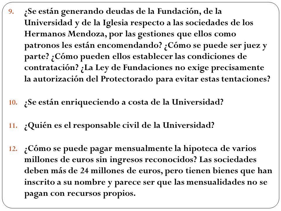 9. ¿Se están generando deudas de la Fundación, de la Universidad y de la Iglesia respecto a las sociedades de los Hermanos Mendoza, por las gestiones