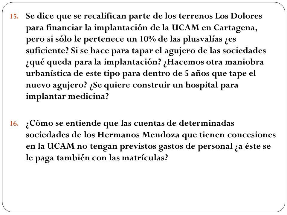15. Se dice que se recalifican parte de los terrenos Los Dolores para financiar la implantación de la UCAM en Cartagena, pero si sólo le pertenece un