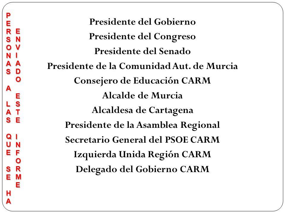 Presidente del Gobierno Presidente del Congreso Presidente del Senado Presidente de la Comunidad Aut. de Murcia Consejero de Educación CARM Alcalde de