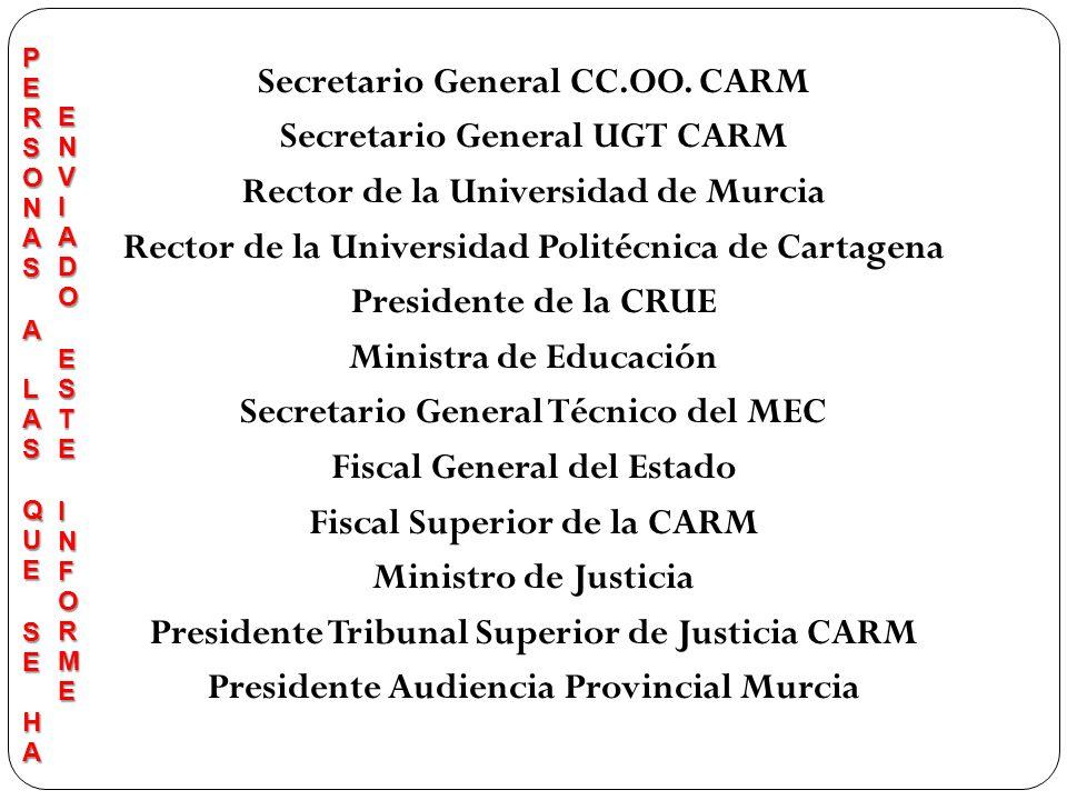 Secretario General CC.OO. CARM Secretario General UGT CARM Rector de la Universidad de Murcia Rector de la Universidad Politécnica de Cartagena Presid