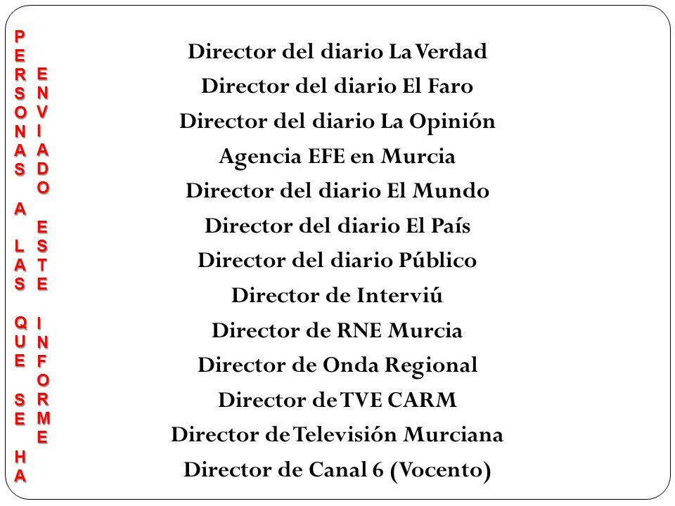 Director del diario La Verdad Director del diario El Faro Director del diario La Opinión Agencia EFE en Murcia Director del diario El Mundo Director d