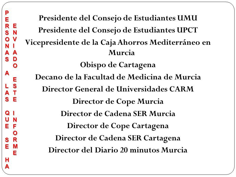 Presidente del Consejo de Estudiantes UMU Presidente del Consejo de Estudiantes UPCT Vicepresidente de la Caja Ahorros Mediterráneo en Murcia Obispo d
