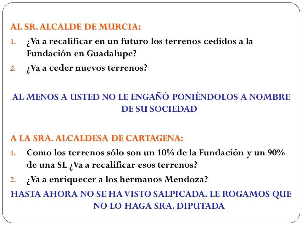AL SR. ALCALDE DE MURCIA: 1. ¿Va a recalificar en un futuro los terrenos cedidos a la Fundación en Guadalupe? 2. ¿Va a ceder nuevos terrenos? AL MENOS