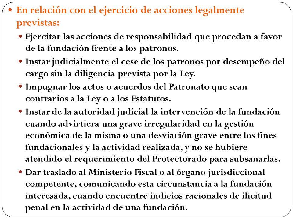 En relación con el ejercicio de acciones legalmente previstas: Ejercitar las acciones de responsabilidad que procedan a favor de la fundación frente a los patronos.