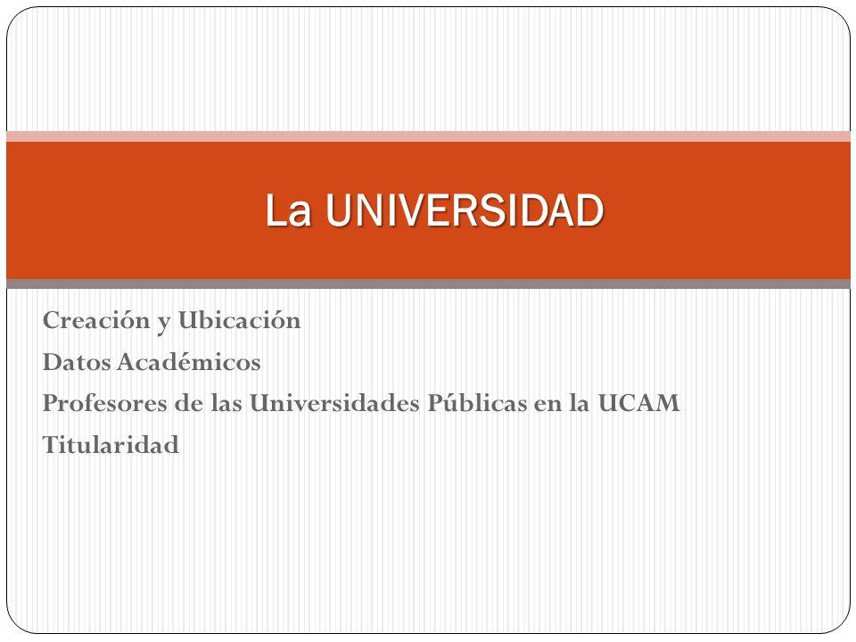 Creación y Ubicación Datos Académicos Profesores de las Universidades Públicas en la UCAM Titularidad La UNIVERSIDAD La UNIVERSIDAD