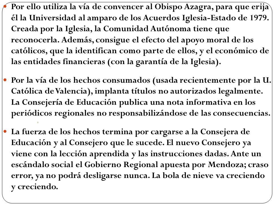 Por ello utiliza la vía de convencer al Obispo Azagra, para que erija él la Universidad al amparo de los Acuerdos Iglesia-Estado de 1979. Creada por l