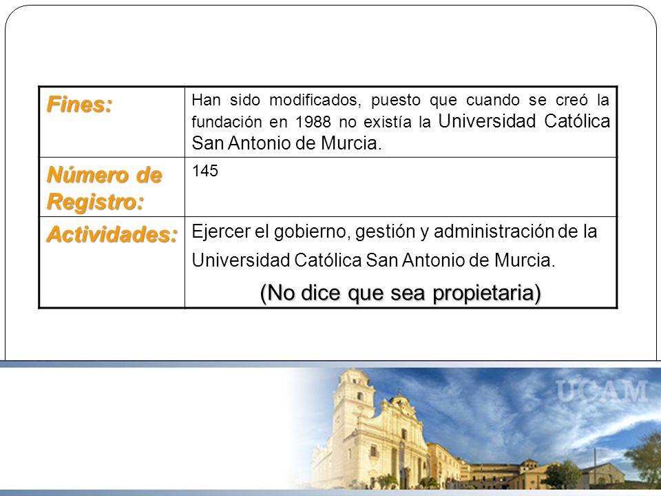 Fines: Han sido modificados, puesto que cuando se creó la fundación en 1988 no existía la Universidad Católica San Antonio de Murcia. Número de Regist