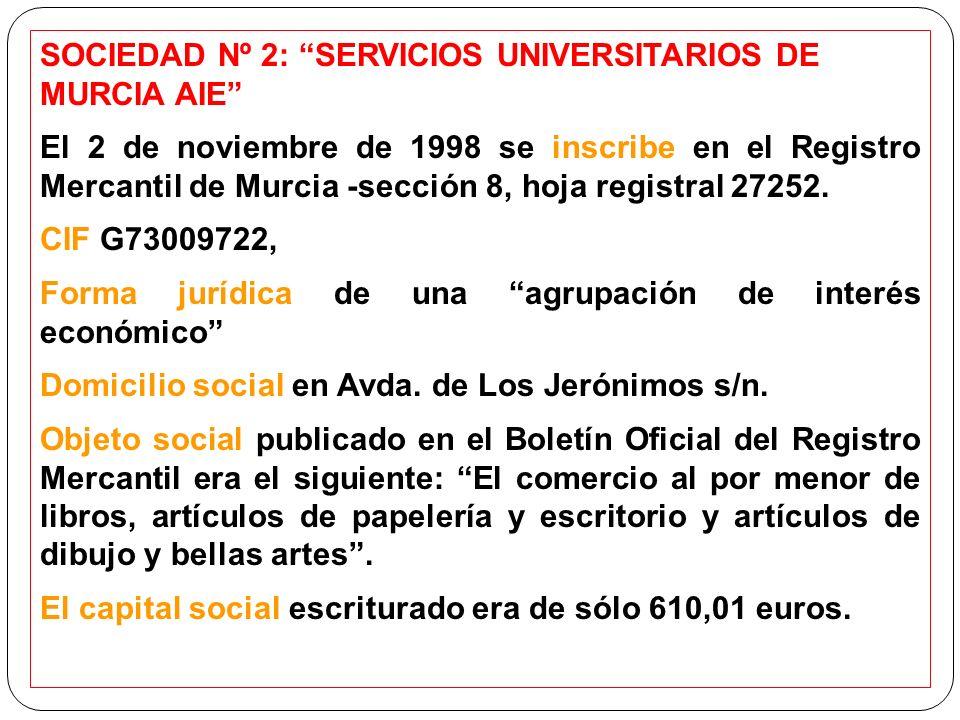 SOCIEDAD Nº 2: SERVICIOS UNIVERSITARIOS DE MURCIA AIE El 2 de noviembre de 1998 se inscribe en el Registro Mercantil de Murcia -sección 8, hoja registral 27252.