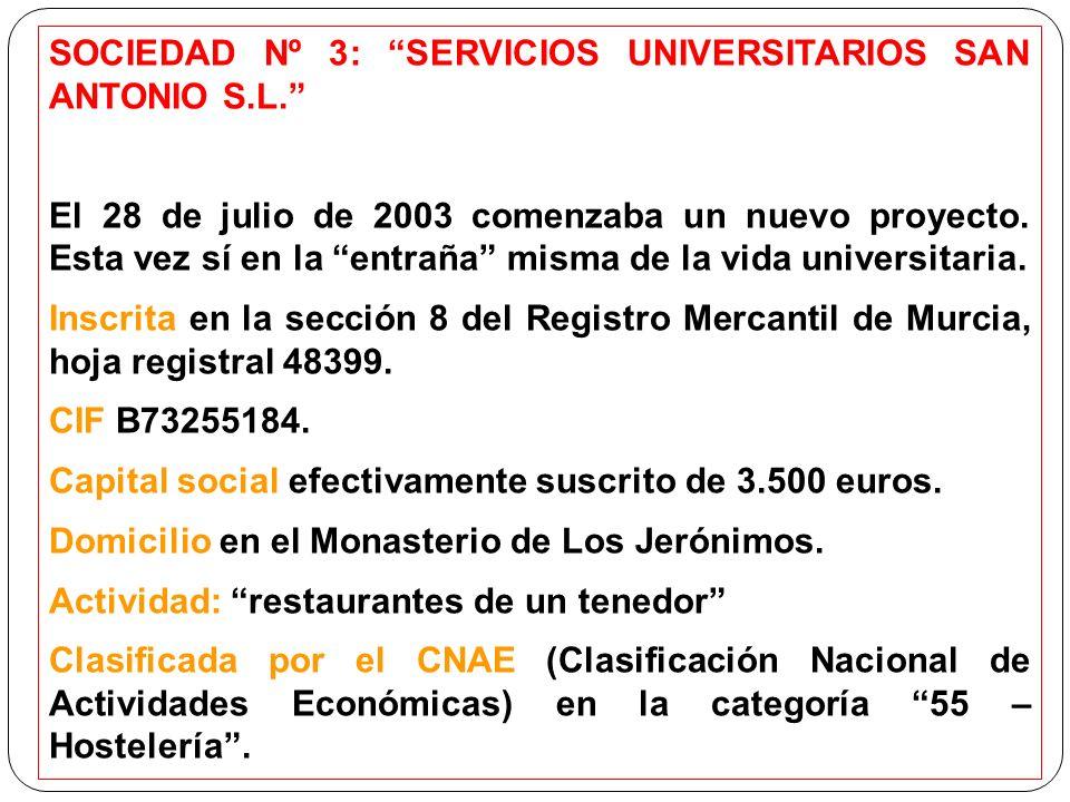 SOCIEDAD Nº 3: SERVICIOS UNIVERSITARIOS SAN ANTONIO S.L. El 28 de julio de 2003 comenzaba un nuevo proyecto. Esta vez sí en la entraña misma de la vid