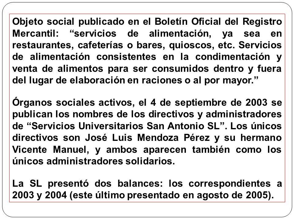 Objeto social publicado en el Boletín Oficial del Registro Mercantil: servicios de alimentación, ya sea en restaurantes, cafeterías o bares, quioscos,