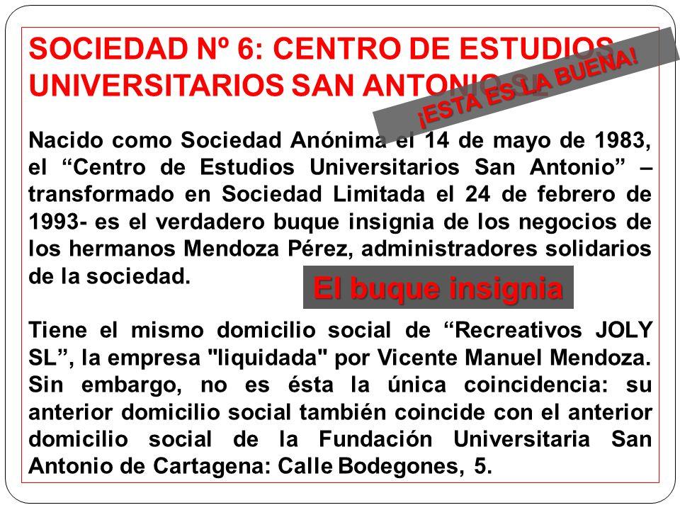 SOCIEDAD Nº 6: CENTRO DE ESTUDIOS UNIVERSITARIOS SAN ANTONIO SL Nacido como Sociedad Anónima el 14 de mayo de 1983, el Centro de Estudios Universitari