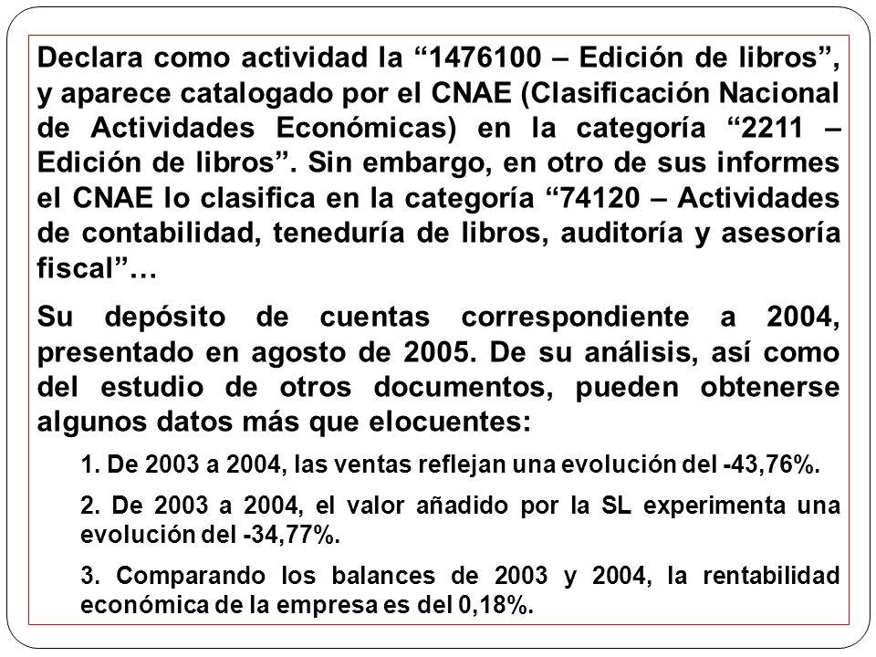 Declara como actividad la 1476100 – Edición de libros, y aparece catalogado por el CNAE (Clasificación Nacional de Actividades Económicas) en la categoría 2211 – Edición de libros.