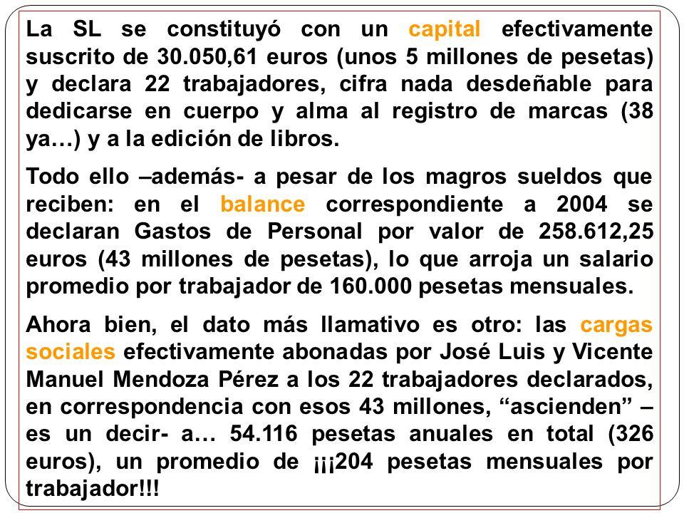 La SL se constituyó con un capital efectivamente suscrito de 30.050,61 euros (unos 5 millones de pesetas) y declara 22 trabajadores, cifra nada desdeñable para dedicarse en cuerpo y alma al registro de marcas (38 ya…) y a la edición de libros.