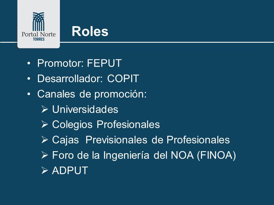 Roles Promotor: FEPUT Desarrollador: COPIT Canales de promoción: Universidades Colegios Profesionales Cajas Previsionales de Profesionales Foro de la