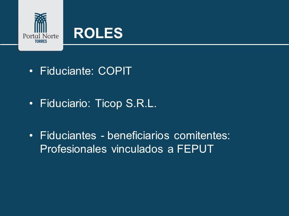 ROLES Fiduciante: COPIT Fiduciario: Ticop S.R.L. Fiduciantes - beneficiarios comitentes: Profesionales vinculados a FEPUT