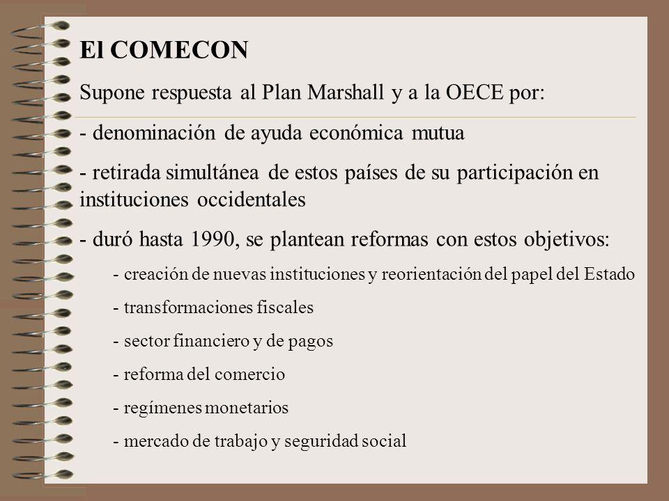 El COMECON Supone respuesta al Plan Marshall y a la OECE por: - denominación de ayuda económica mutua - retirada simultánea de estos países de su part