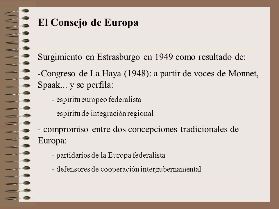 El Consejo de Europa Surgimiento en Estrasburgo en 1949 como resultado de: -Congreso de La Haya (1948): a partir de voces de Monnet, Spaak... y se per