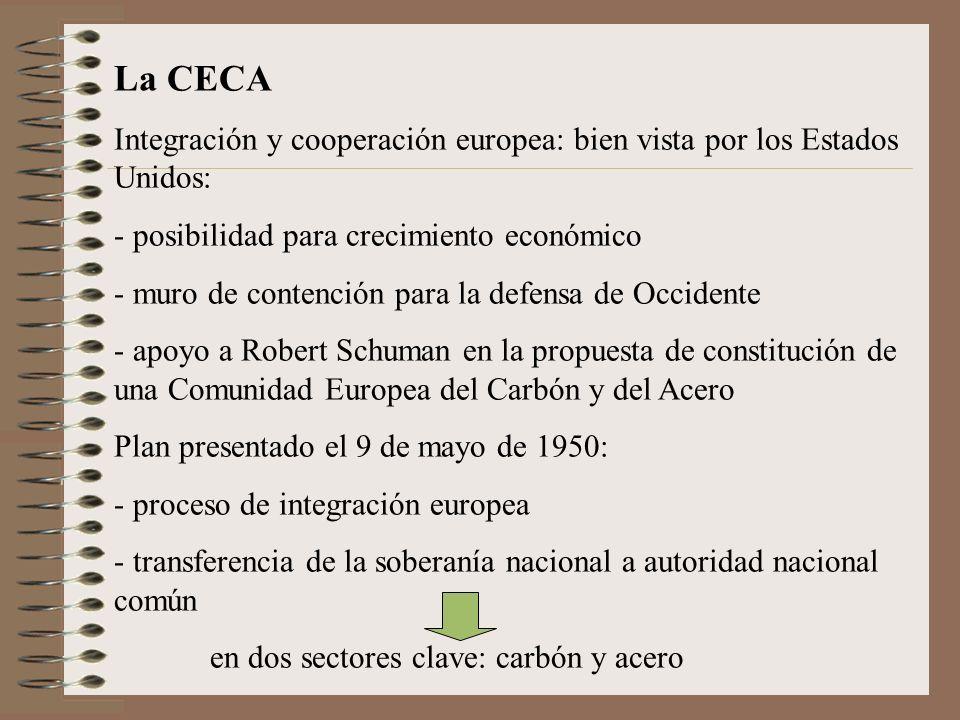 La CECA Integración y cooperación europea: bien vista por los Estados Unidos: - posibilidad para crecimiento económico - muro de contención para la de