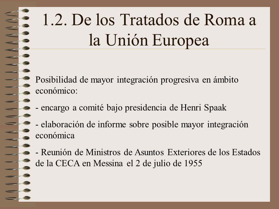 1.2. De los Tratados de Roma a la Unión Europea Posibilidad de mayor integración progresiva en ámbito económico: - encargo a comité bajo presidencia d