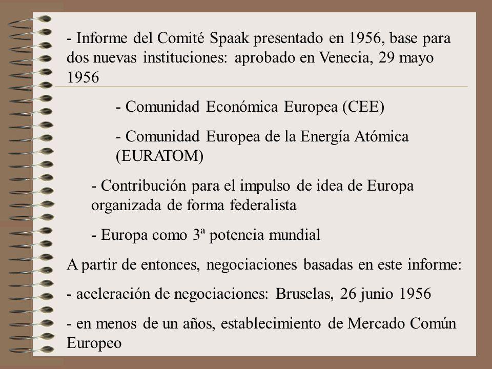 - Informe del Comité Spaak presentado en 1956, base para dos nuevas instituciones: aprobado en Venecia, 29 mayo 1956 - Comunidad Económica Europea (CE