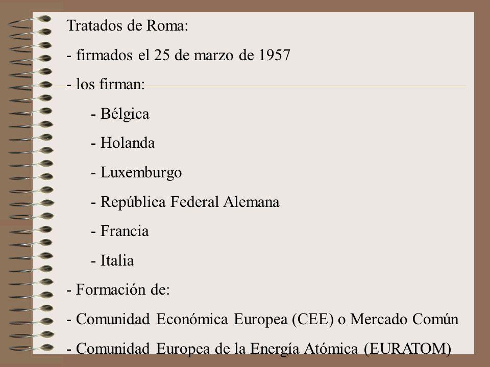 Tratados de Roma: - firmados el 25 de marzo de 1957 - los firman: - Bélgica - Holanda - Luxemburgo - República Federal Alemana - Francia - Italia - Fo