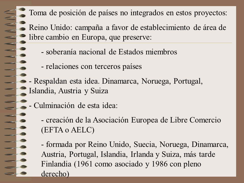 Toma de posición de países no integrados en estos proyectos: Reino Unido: campaña a favor de establecimiento de área de libre cambio en Europa, que pr