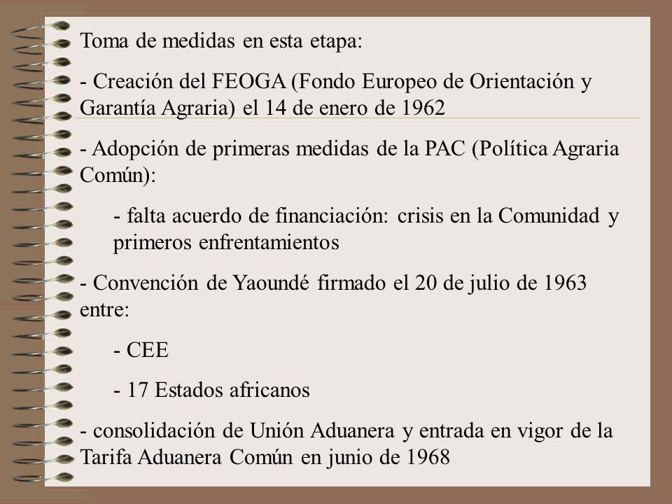 Toma de medidas en esta etapa: - Creación del FEOGA (Fondo Europeo de Orientación y Garantía Agraria) el 14 de enero de 1962 - Adopción de primeras me