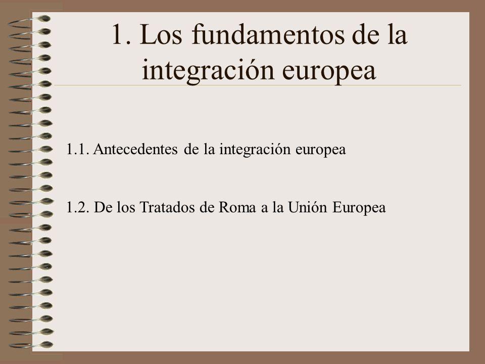 1. Los fundamentos de la integración europea 1.1. Antecedentes de la integración europea 1.2. De los Tratados de Roma a la Unión Europea