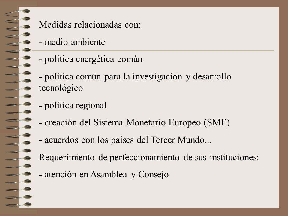 Medidas relacionadas con: - medio ambiente - política energética común - política común para la investigación y desarrollo tecnológico - política regi