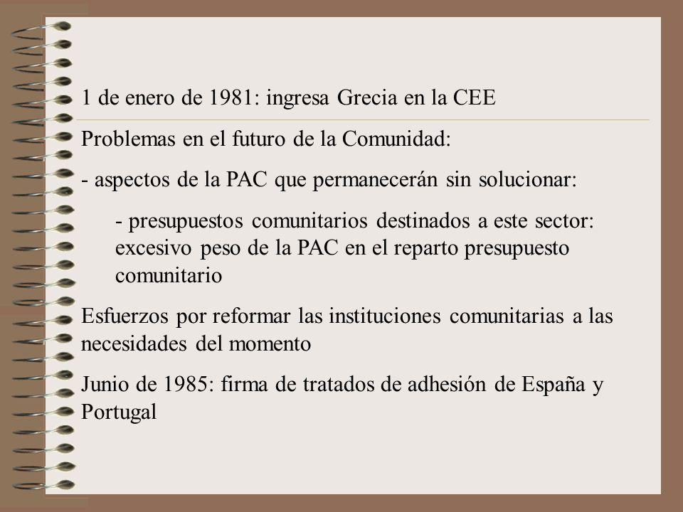 1 de enero de 1981: ingresa Grecia en la CEE Problemas en el futuro de la Comunidad: - aspectos de la PAC que permanecerán sin solucionar: - presupues