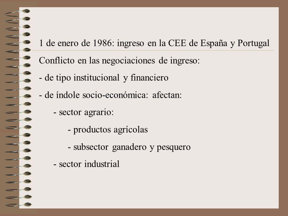 1 de enero de 1986: ingreso en la CEE de España y Portugal Conflicto en las negociaciones de ingreso: - de tipo institucional y financiero - de índole