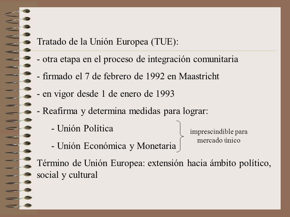 Tratado de la Unión Europea (TUE): - otra etapa en el proceso de integración comunitaria - firmado el 7 de febrero de 1992 en Maastricht - en vigor de